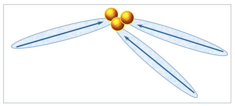 "Figure 2: A supra-CDrot. Its CDrot interact through ""like likes like"" interactions, with  constituting the ""intermediate of unlikes"". CDrot are symbolized by the elongated domains. Their blue arrows symbolize their electric dipole moments. The yellow-brown balls symbolize ."