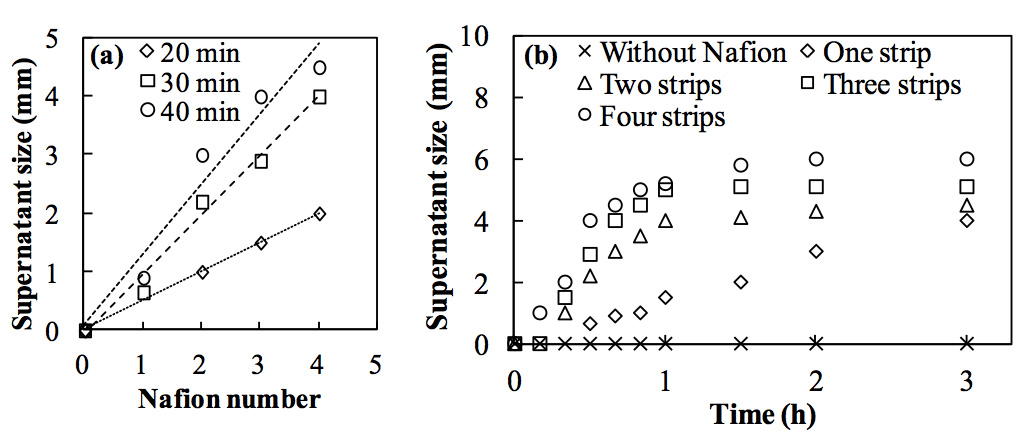 Figure 3: Effect of Nafion surface area on the supernatant size in a carbon black suspension (2.4 × 1011 /mL). (a) Relationship between the number of Nafion strips and the supernatant size at 20, 30, and 40 min. (b) Time course of supernatant sizes with 0 to 4 Nafion strips.